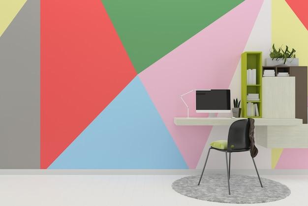 Multi pastelowe ściany białe podłogi z drewna tekstury tła pracy miejsca książki dywan