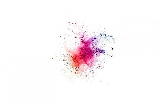 Multicolor proszek wybuch na białym tle.