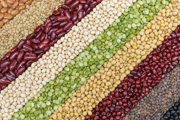 Multicolor wysuszeni legumes dla diagonalnego tła, różna sucha fasola dla jeść zdrowy