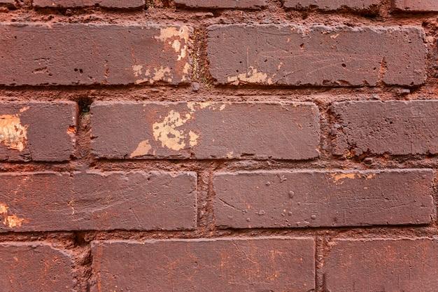 Mur z cegły brązowy. zbliżenie. przestrzenie i tekstury. miejsce na tekst.
