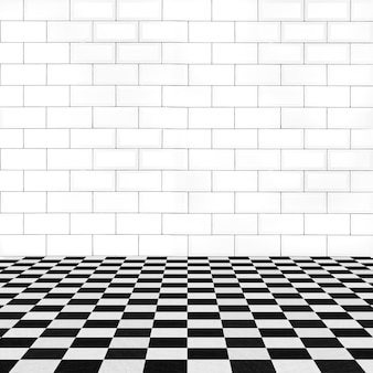 Mur z cegły i kafelki podłogowe