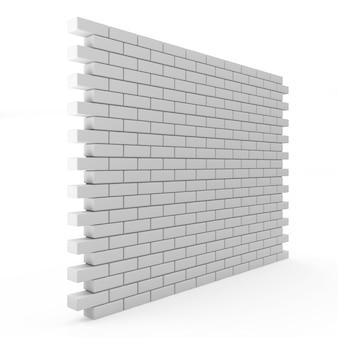 Mur z cegły na białym tle