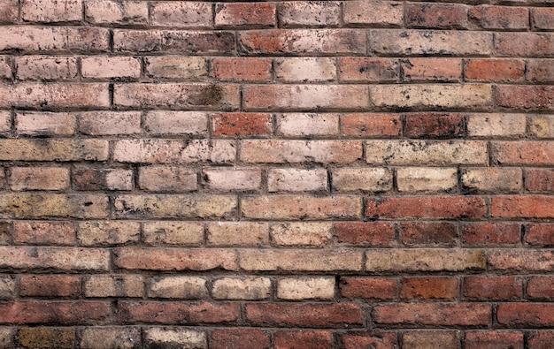 Mur z cegły w kolorze czerwonym, panorama murów