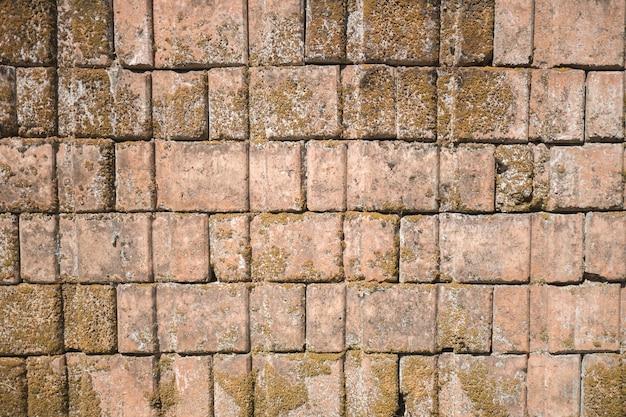 Mur z cegły wygląda staro, minął czas.