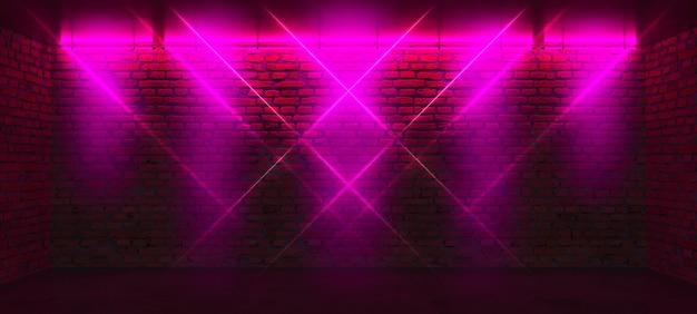 Mur z cegły z różowymi neonami
