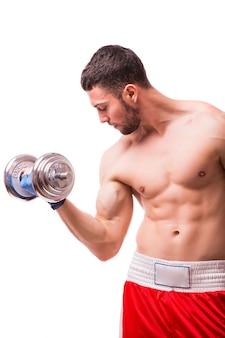 Muskularny Mężczyzna Robi ćwiczenia Ze Sztangą. Darmowe Zdjęcia