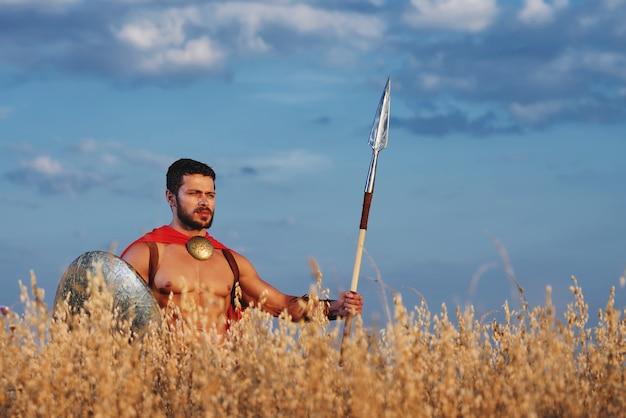Muskularny średniowieczny wojownik stojący w polu