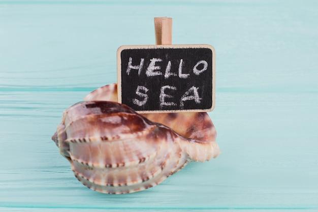 Muszla z tablicą z tekstem powitania morza. niebieskie drewniane tła.