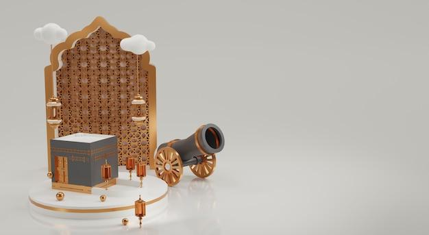 Muzułmański element ilustracji 3d zdjęcia premium
