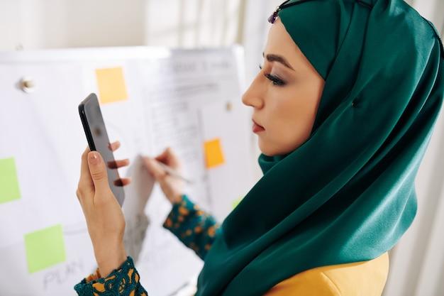 Muzułmański kierownik projektu przygotowuje się do prezentacji