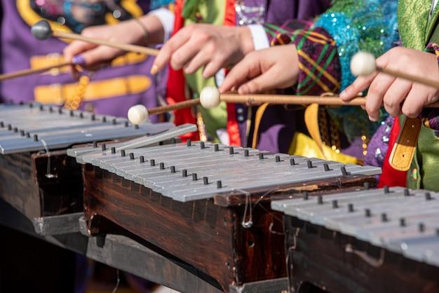 Muzycy grający na ksylofonie na karnawale