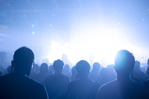 Muzyczne tłumy koncertowe oświetlone