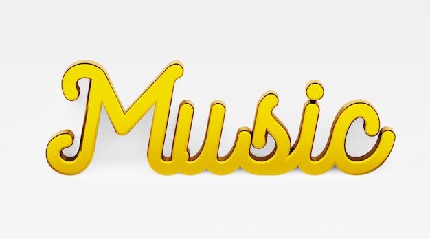 Muzyka. kaligraficzna fraza. złote logo 3d w stylu kaligrafii ręcznej na białym jednolitym tle z cieniami. renderowania 3d.