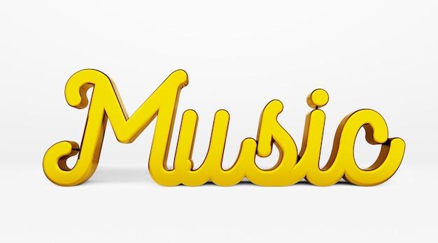 Muzyka. kaligraficzna fraza. złote logo 3d w stylu kaligrafii ręki na białym jednolitym tle z cieniami. renderowania 3d.