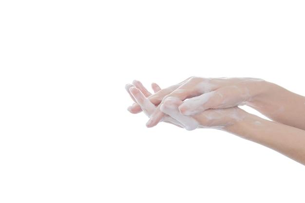 Mycie rąk pocieranie mydłem isoated na białym tle dla koncepcji higieny.