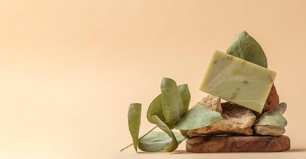 Mydło z przodu wykonane z zielonej rośliny z miejscem na kopię