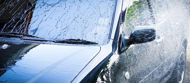 Myjnia samochodowa business banner mycie samochodu z miejscem na kopię