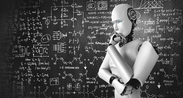 Myślący humanoidalny robot ai analizujący ekran formuły matematycznej i nauki