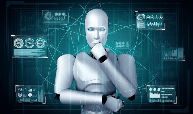 Myślący humanoidalny robot ai analizujący ekran hologramu pokazujący koncepcję big data