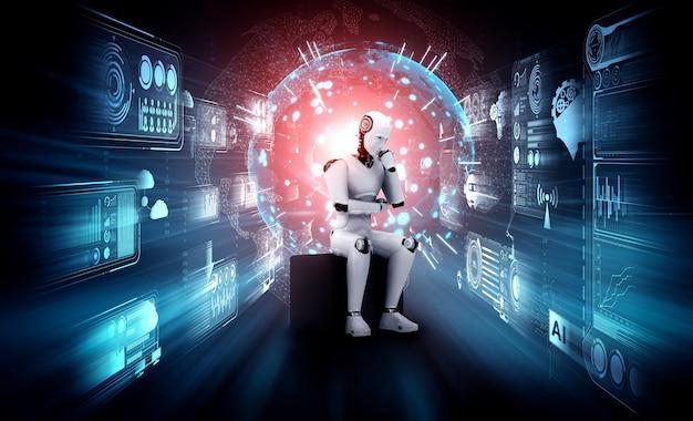 Myślący humanoidalny robot ai analizujący ekran hologramu pokazuje koncepcję sieci