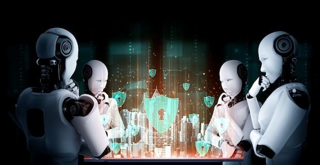 Myślący humanoidalny robot ai analizujący ekran hologramu przedstawia koncepcję sieci