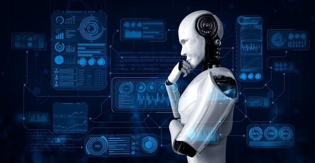 Myślący humanoidalny robot ai analizujący ekran hologramu przedstawiający koncepcję dużych zbiorów danych