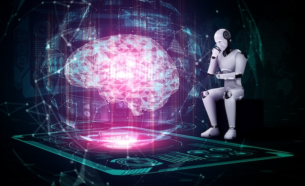 Myślący humanoidalny robot ai analizujący ekran hologramu przedstawiający koncepcję sztucznej inteligencji