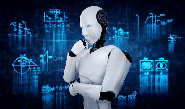 Myślący robot humanoidalny ai analizujący ekran formuły matematycznej i nauki