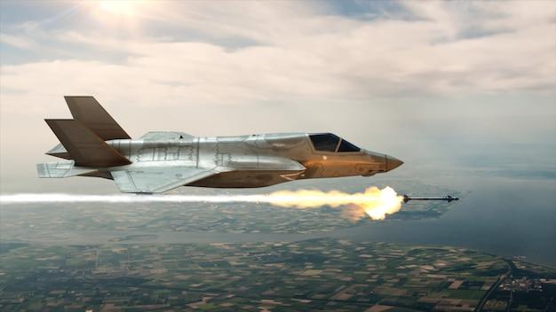 Myśliwiec na niebie wystrzeliwuje rakietę