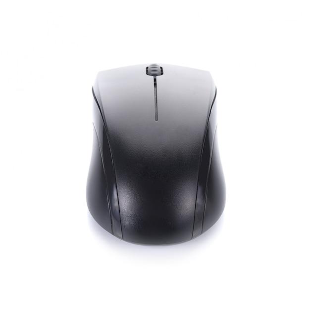 Mysz komputerowa, bezprzewodowa, czarna, błyszcząca nowoczesne elektroniczne złącze bluetooth na białym tle