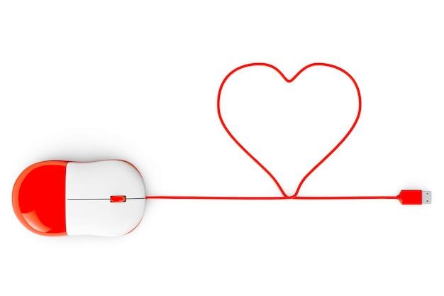 Mysz komputerowa i kable w formie serca na białym tle