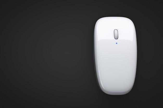 Mysz komputerowa na stole. widok z góry.