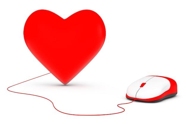 Mysz komputerowa połączona z czerwonym sercem na białym tle
