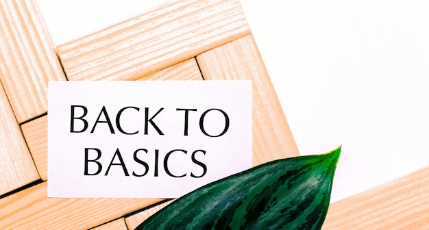 Na białej powierzchni drewniane klocki, biała kartka z napisem back to basics oraz zielony liść rośliny