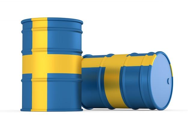 Na białym tle beczki flaga szwecji stylu oleju