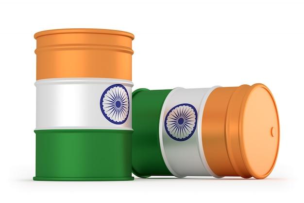 Na białym tle beczki flagi indii stylu oleju
