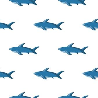Na białym tle bezszwowe zoo wzór morskich z sylwetkami ryb rekin błękitny. białe tło. prosty nadruk. przeznaczony do projektowania tkanin, nadruków na tekstyliach, zawijania, okładek. ilustracja wektorowa.