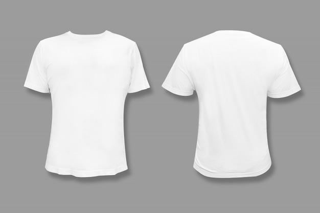 Na białym tle biały t-shirt z puste miejsce na kopię do projektowania graficznego