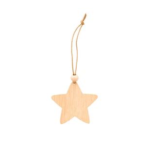 Na białym tle drewniana ozdoba choinkowa (kształt gwiazdy)