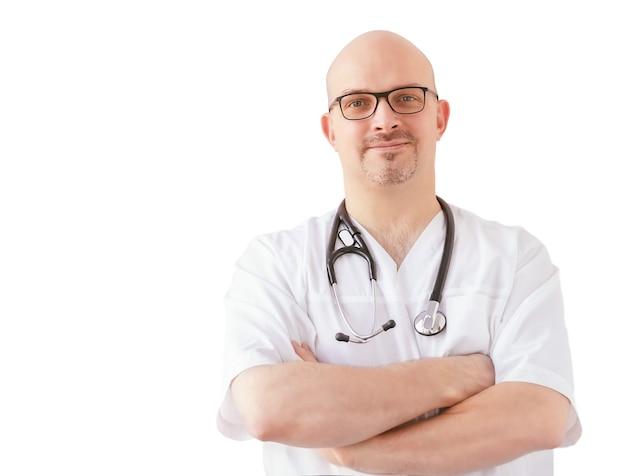 Na białym tle lekarz ze stetoskopem na białym tle