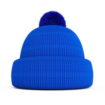 Na białym tle niebieski czapka zimowa z dzianiny