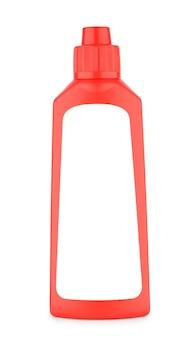 Na białym tle nieoznakowana czerwona butelka