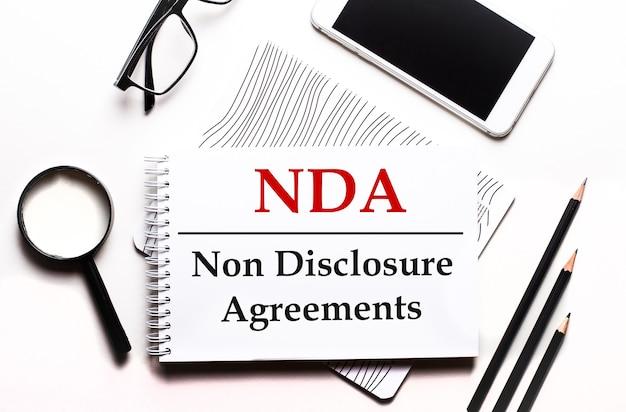 Na białym tle okulary, lupa, ołówki, smartfon i notatnik z tekstem nda non disclosure agreements