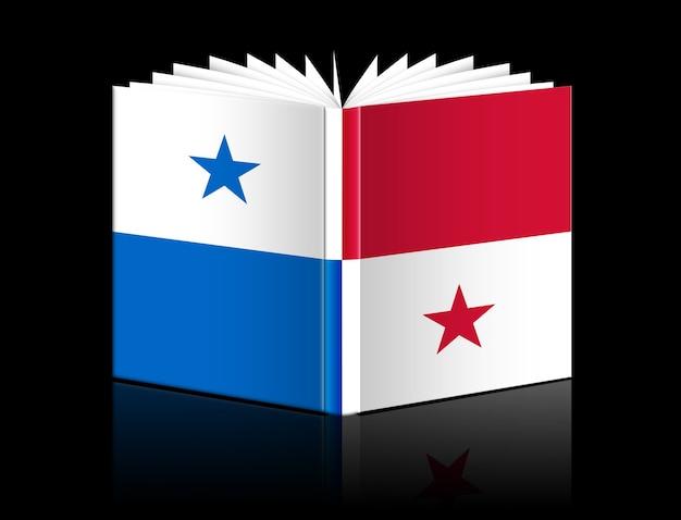 Na białym tle otwarta księga przedstawiająca flagę panamy
