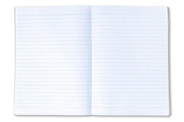 Na białym tle otwarty pusty notatnik z liniami stron