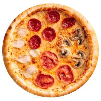 Na białym tle pizza cztery pory roku