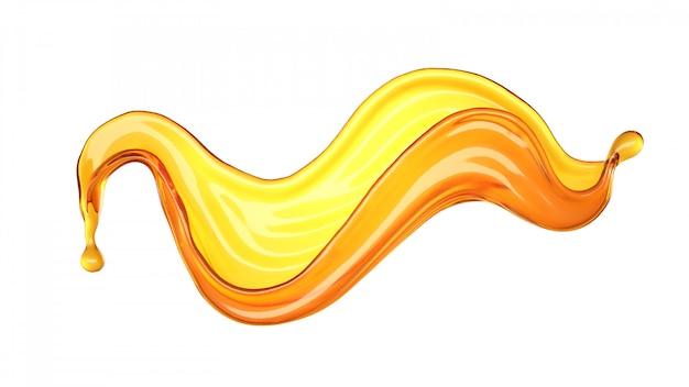 Na białym tle plusk soku pomarańczowego na białym tle. renderowanie 3d.