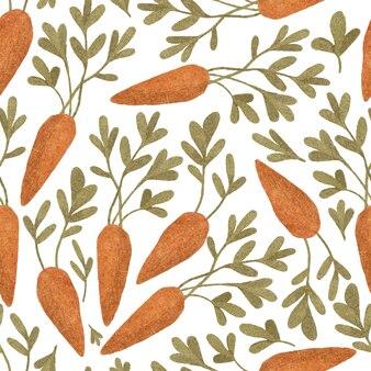 Na białym tle ręcznie rysowane marchewki wzór