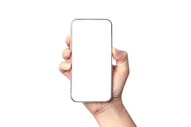 Na białym tle ręki trzymającej smartfon z pustą ramką ekranu