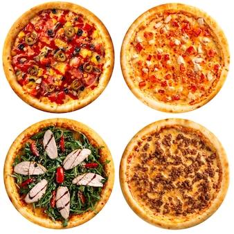Na białym tle różne różnorodne pizze projektowania menu kolażu
